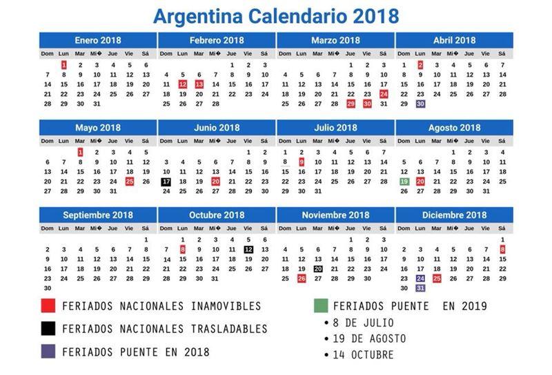 Resultado de imagen para Calendario 2018 oficial feriados puente en Argentina
